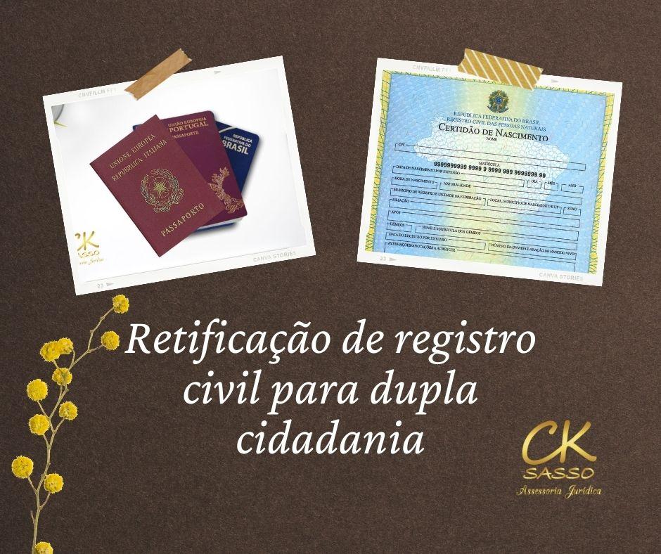Retificacao de registro civil para dupla cidadania